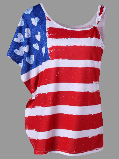 American Flag One Shoulder T-shirt - BLUE/RED 2XL