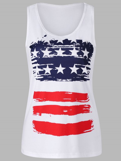 Stars and Stripes Tank Top - WHITE 2XL