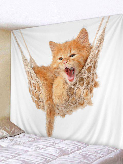 Kitten Cat Wall Tapestry Art Hanging Decorations for Home - BEE YELLOW W79 INCH * L71 INCH