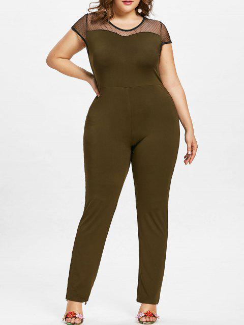 Plus Size Round Neck Mesh Panel Jumpsuit - ARMY GREEN 1X
