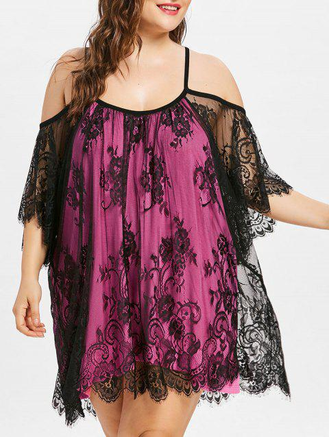 Plus Size Two Tone Lace Cover Up - HOT PINK XL
