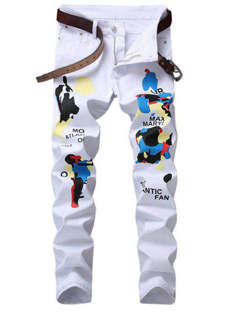 Narrow Feet Letter Graphic Print Jeans - WHITE 38