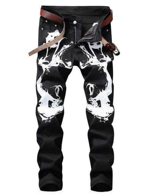 Zipper Fly Graphic Print Jeans - BLACK 34