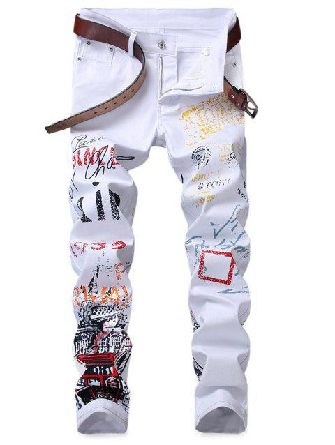 Narrow Feet Letter Print Jeans - WHITE 34