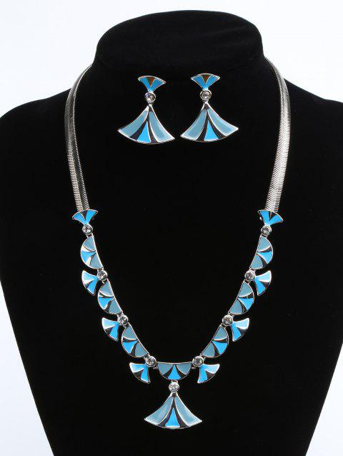 Fan Shaped Faux Diamond Inlaid Pendant Necklace and Drop Earrings Jewelry Set - BLUE HOSTA