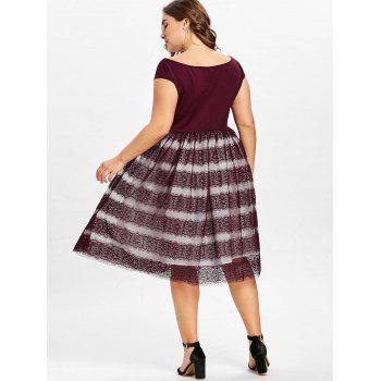 Lace A Line Plus Size Dress - CHESTNUT RED L
