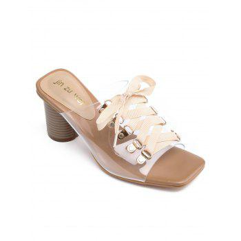 High Heel Chic Crisscross Mules Shoes - APRICOT 38