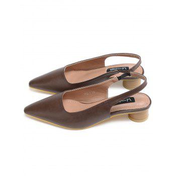 Elastic Band Block Heel PU Leather Pumps - DEEP BROWN 37