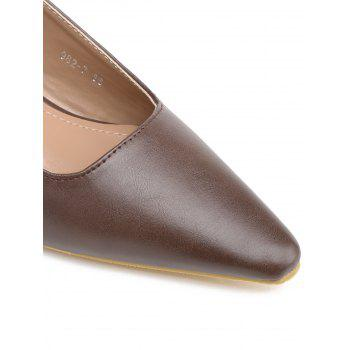Elastic Band Block Heel PU Leather Pumps - DEEP BROWN 39