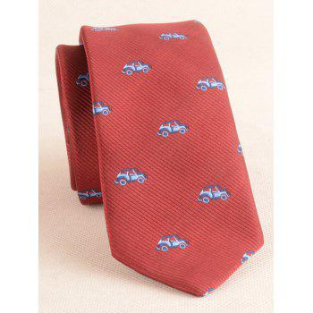 Vintage Cartoon Cars Pattern Shirt Tie Bowtie Handkerchief - RED