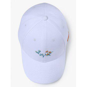 Plant and NUZADA Embroidery Sunscreen Hat - WHITE