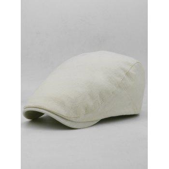 Simple Solid Color Cotton Flat Cabbie Hat - BEIGE
