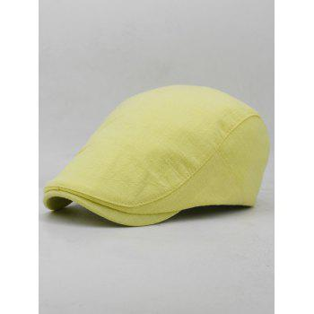 Simple Solid Color Cotton Flat Cabbie Hat - HARVEST YELLOW