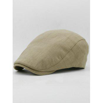 Simple Solid Color Cotton Flat Cabbie Hat - LIGHT KHAKI