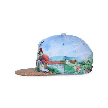 Castle Pattern Adjustable Sun Hat - LIGHT SKY BLUE