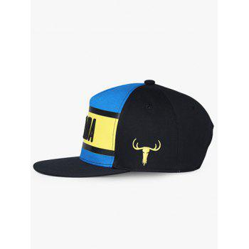 Letter and Bull Embroidery Trucker Hat - BLUE RIBBON