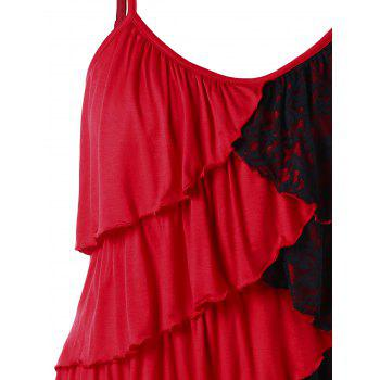 Plus Size Two Tone Overlap Tiered Tank Top - RED 2X