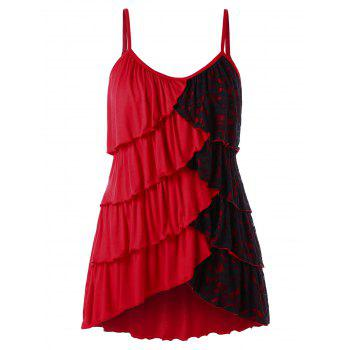 Plus Size Two Tone Overlap Tiered Tank Top - RED 3X