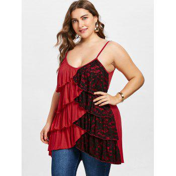 Plus Size Two Tone Overlap Tiered Tank Top - RED 4X