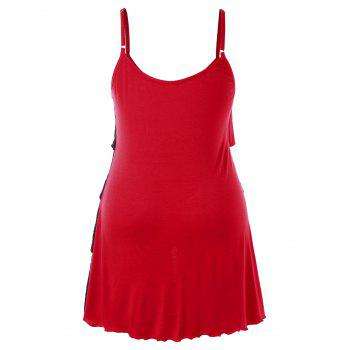 Plus Size Two Tone Overlap Tiered Tank Top - RED 5X