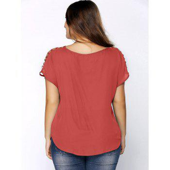 Plus Size Ripped Sleeve V Neck T-Shirt - WATERMELON RED 2XL