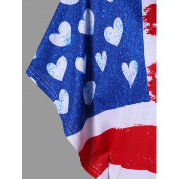 American Flag One Shoulder T-shirt - BLUE/RED M