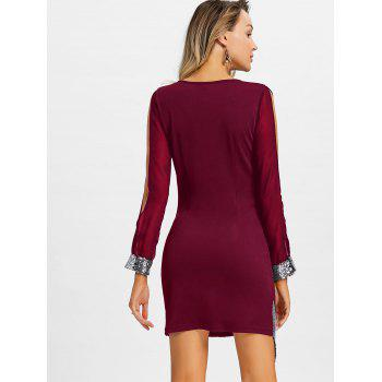 Slit Sleeve Sequin Trimmed Chiffon Party Dress - RED WINE L