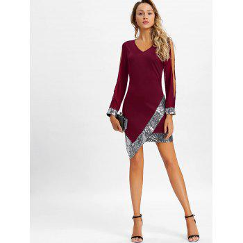 Slit Sleeve Sequin Trimmed Chiffon Party Dress - RED WINE XL