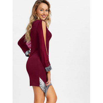 Slit Sleeve Sequin Trimmed Chiffon Party Dress - RED WINE 2XL