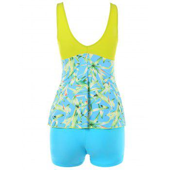 Plant Printed Cross Front Tankini - YELLOW L