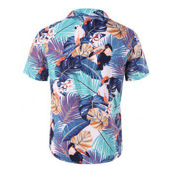 Button Down Tropical Print Shirt - COLORMIX XL