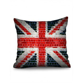 Union Jack Brick Wall Print Linen Sofa Pillowcase - multicolor 45*45CM