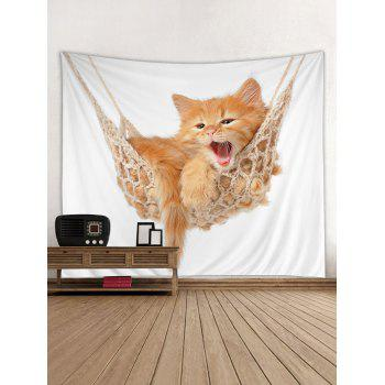 Kitten Cat Wall Tapestry Art Hanging Decorations for Home - BEE YELLOW W91 INCH * L71 INCH