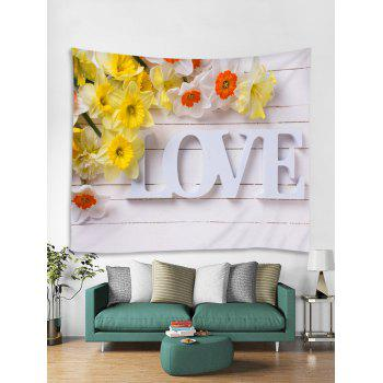 Wood Board Love Print Flower Wall Art Tapestry - multicolor W91 INCH * L71 INCH