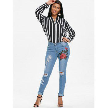 Floral Embroidered Skinny Ripped Jeans - JEANS BLUE L