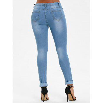Floral Embroidered Skinny Ripped Jeans - JEANS BLUE 2XL