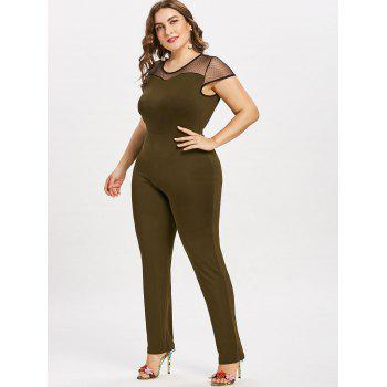 Plus Size Round Neck Mesh Panel Jumpsuit - ARMY GREEN 2X