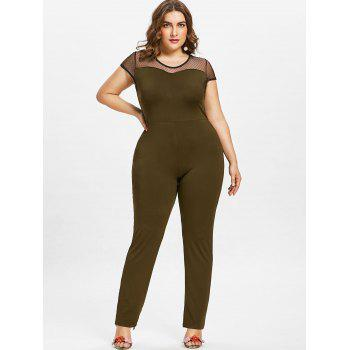 Plus Size Round Neck Mesh Panel Jumpsuit - ARMY GREEN 3X