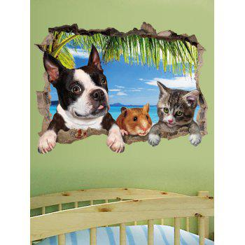 Cute Pets Pattern 3D Broken Wall Art Sticker - multicolor