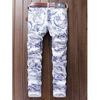 Straight Leg Print Fit Jeans - WHITE 34