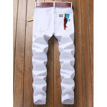 Narrow Feet Letter Graphic Print Jeans - WHITE 36