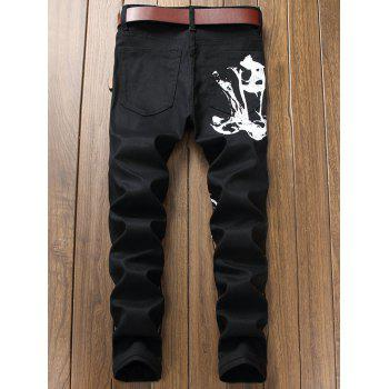 Zipper Fly Graphic Print Jeans - BLACK 32