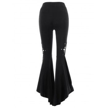 High Rise Side Slit Flare Pants - BLACK L