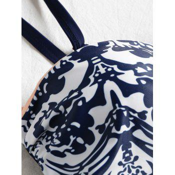 High Cut Printed Push Up Swimsuit - DEEP BLUE L