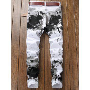 Stretchy Splash-ink Print Narrow Feet Jeans - WHITE 36