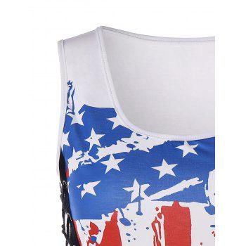 Lace Up American Flag Tank Top - WHITE 2XL