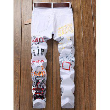 Narrow Feet Letter Print Jeans - WHITE 38