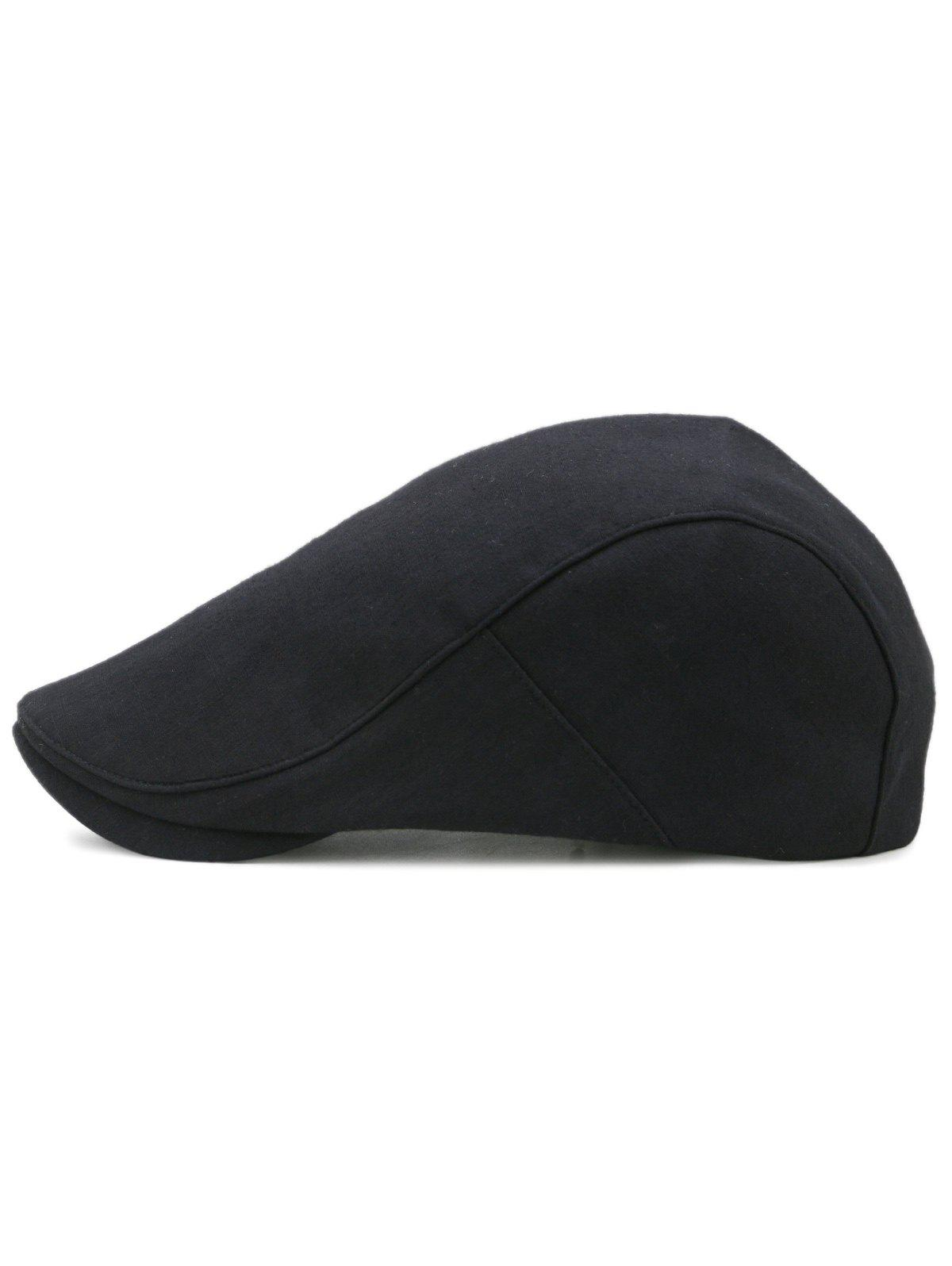 Simple Solid Color Cotton Flat Cabbie Hat - BLACK