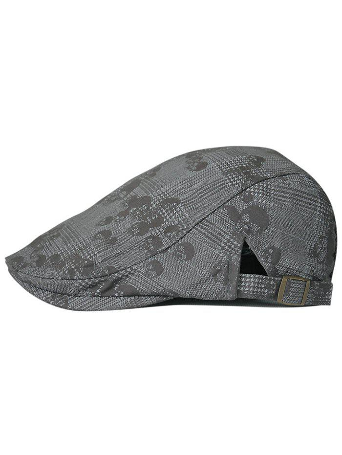 Outdoor Skull Pattern Cabbie Hat patchwork pattern embroidery outdoor sunscreen cabbie hat for men