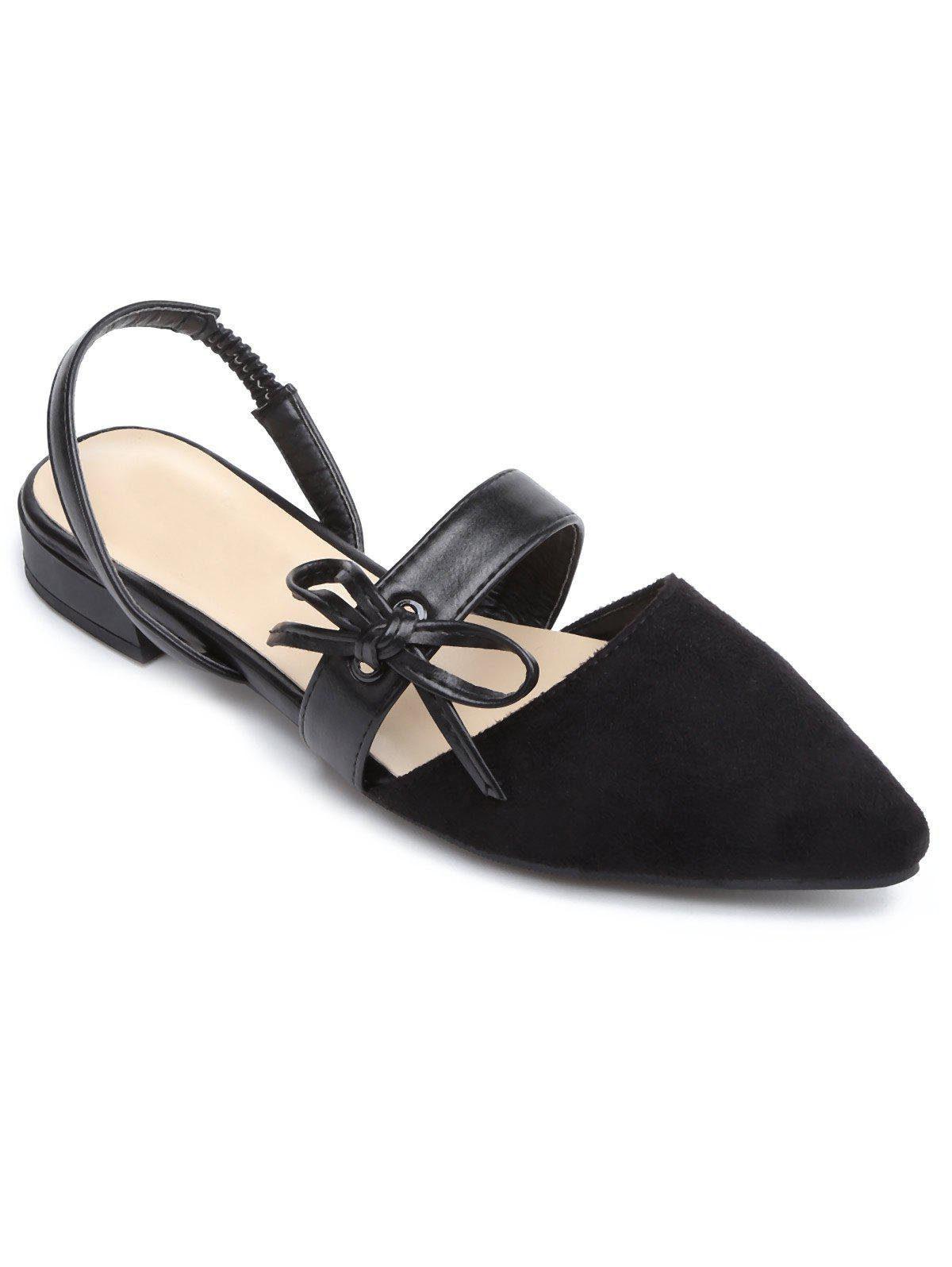 Bow Slingbacks Point Toe Flat Shoes - BLACK 36